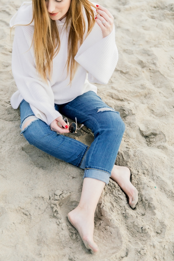 eatsleepwear, Kimberly Lapides, outfit, beach, newport beach, elizabeth and james, lee jeans, rayban