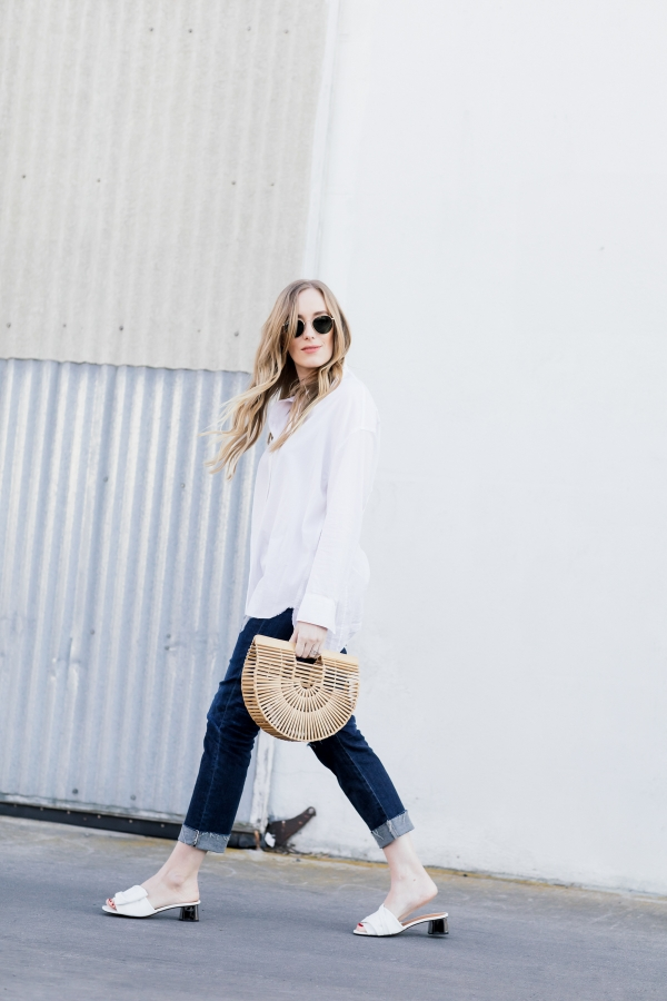 eatsleepwear, Kimberly Lapides, OUTFIT, Vince, Ag jeans, Cult Gaia, Rayban, Clergerie