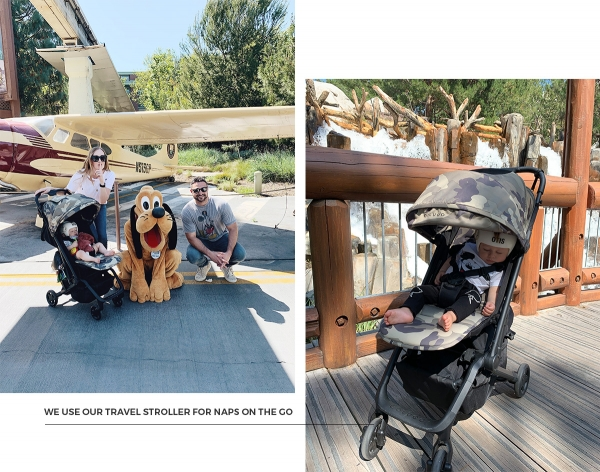 Tips for visiting Disneyland with a newborn baby and 1 year old baby eatsleepwear kimberly lapides colugo travel stroller