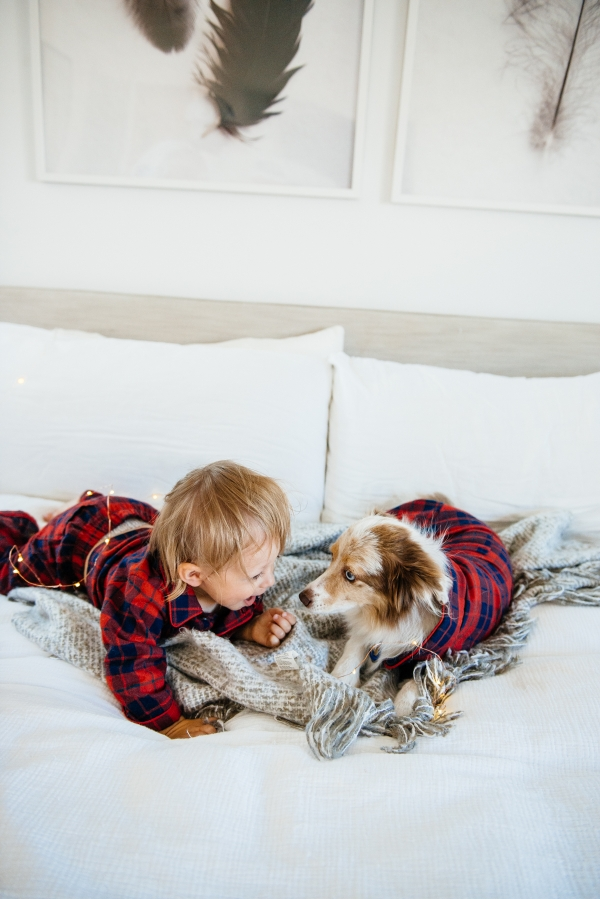 Kimberly Lapides of eatsleepwear sharing her favorite kids and toddler pajamas featuring 1212, clover baby & kids, target, gap kids, h&m kids. Showing toddler and dog in matching plaid pajamas from janie and jack.