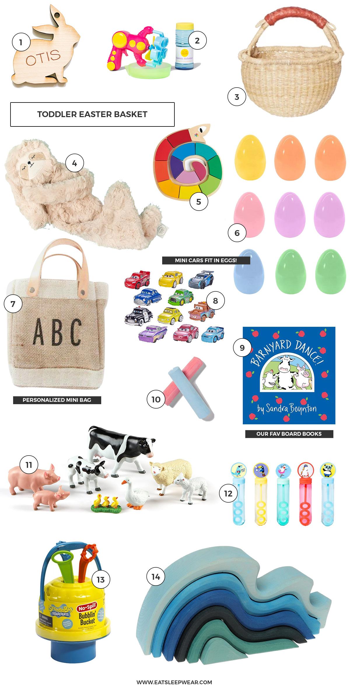 Toddler Easter Basket Essentials created by Kimberly Lapides of Eatsleepwear featuring bubbles, sidewalk chalk, sandra boynton books, slumberkins, the little market and poppyjack shop.