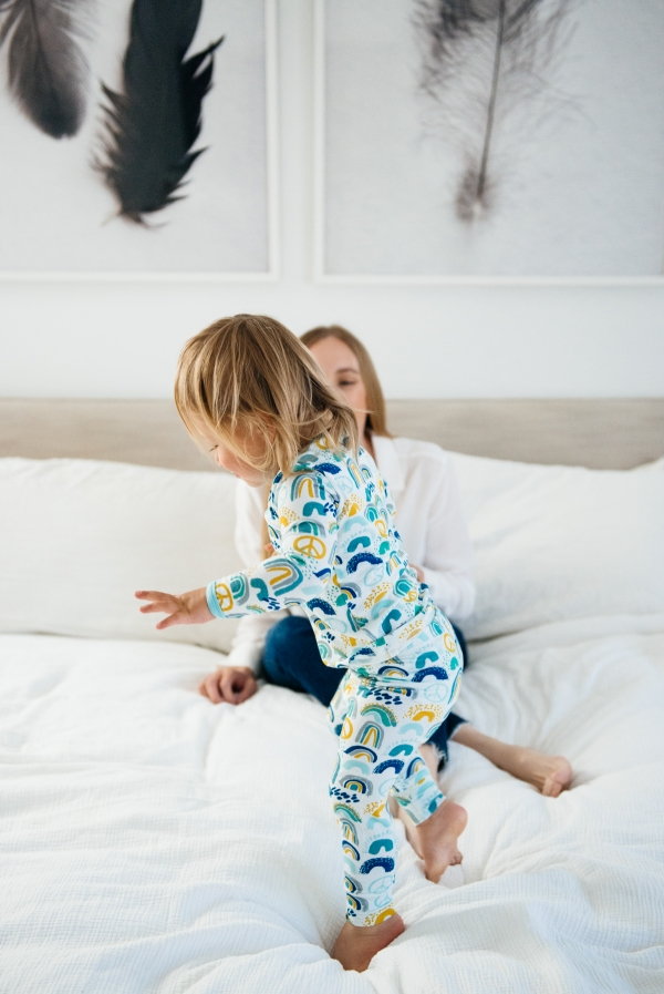 Kimberly Lapides of eatsleepwear in collaboration with Clover Baby & Kids pajamas celebrating Rainbow Baby, IVF, and Infertility