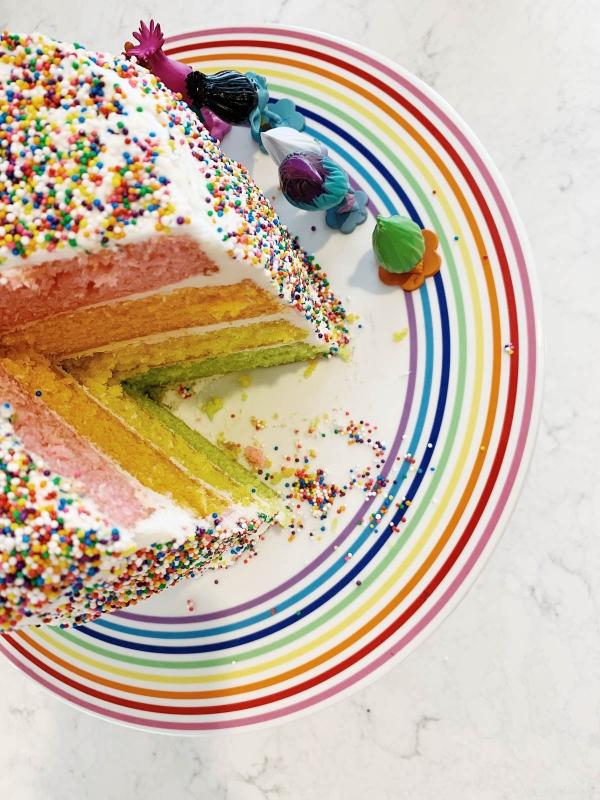 DIY Trolls theme rainbow sprinkle cake on rainbow cake stand