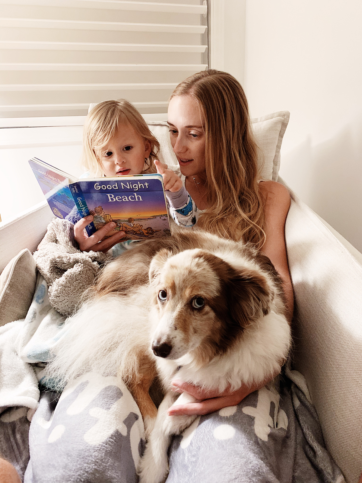 2 year old toddler bedtime routine reading a book.