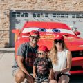 Posing for picture with Lightning McQueen Impersonator at Disney Pixar Cars themed birthday