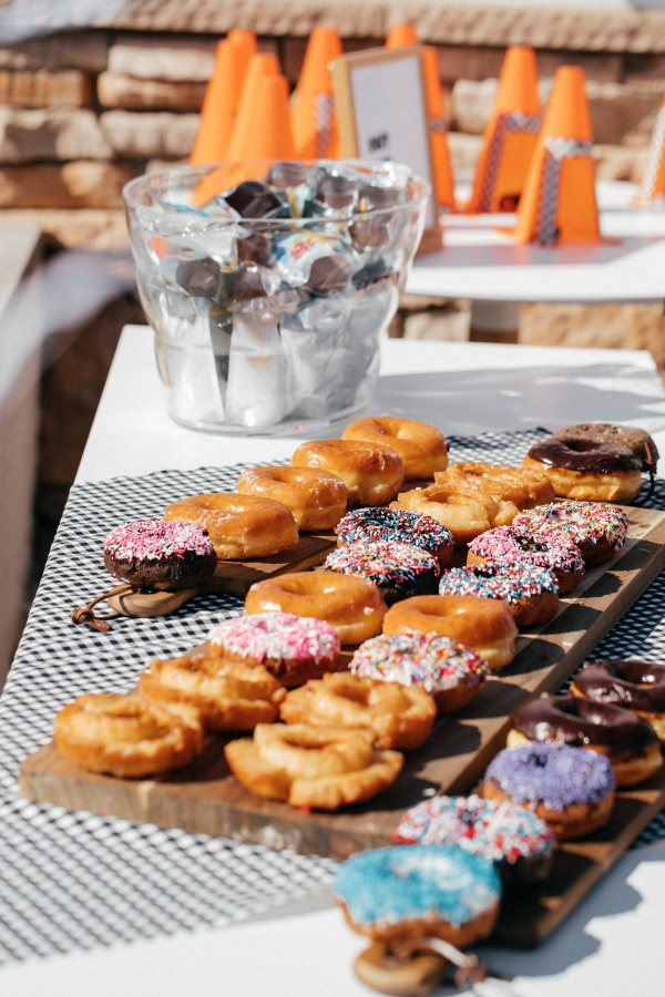 Donuts, Juice Boxes and DIY Cozy Cone Motel Party favors at Disney Pixar Cars themed birthday