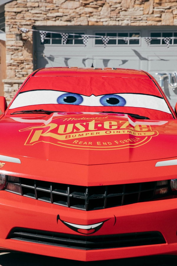 Lightning McQueen Impersonator car at Disney Pixar Cars themed birthday