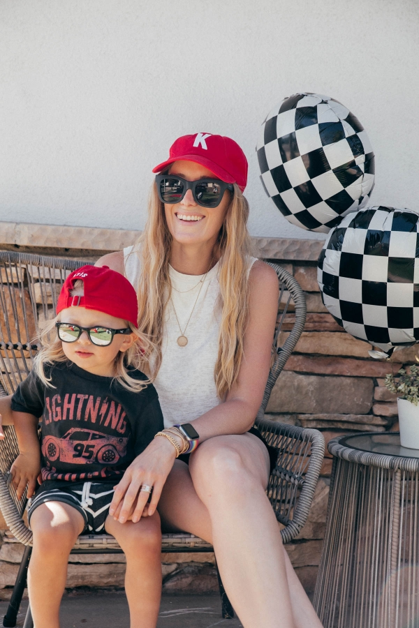 Mother and Son style with matching custom embroidered hats at Disney Pixar Cars themed birthday