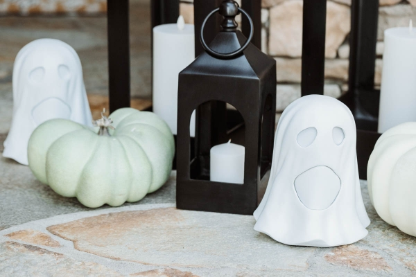 Fall & Halloween Decor For Patio & Yard with Lanterns, faux pumpkins, crow wreath and LED ghosts
