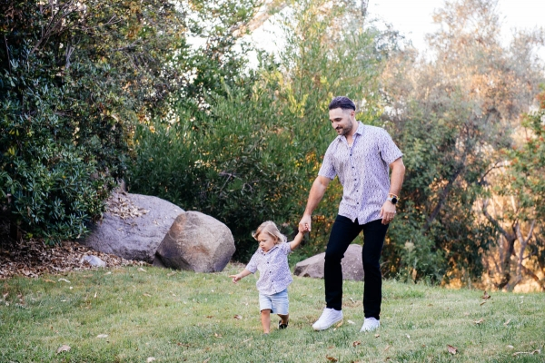 eatsleepwear goes on a family trip with toddler to Rancho Bernardo Inn showing father and son
