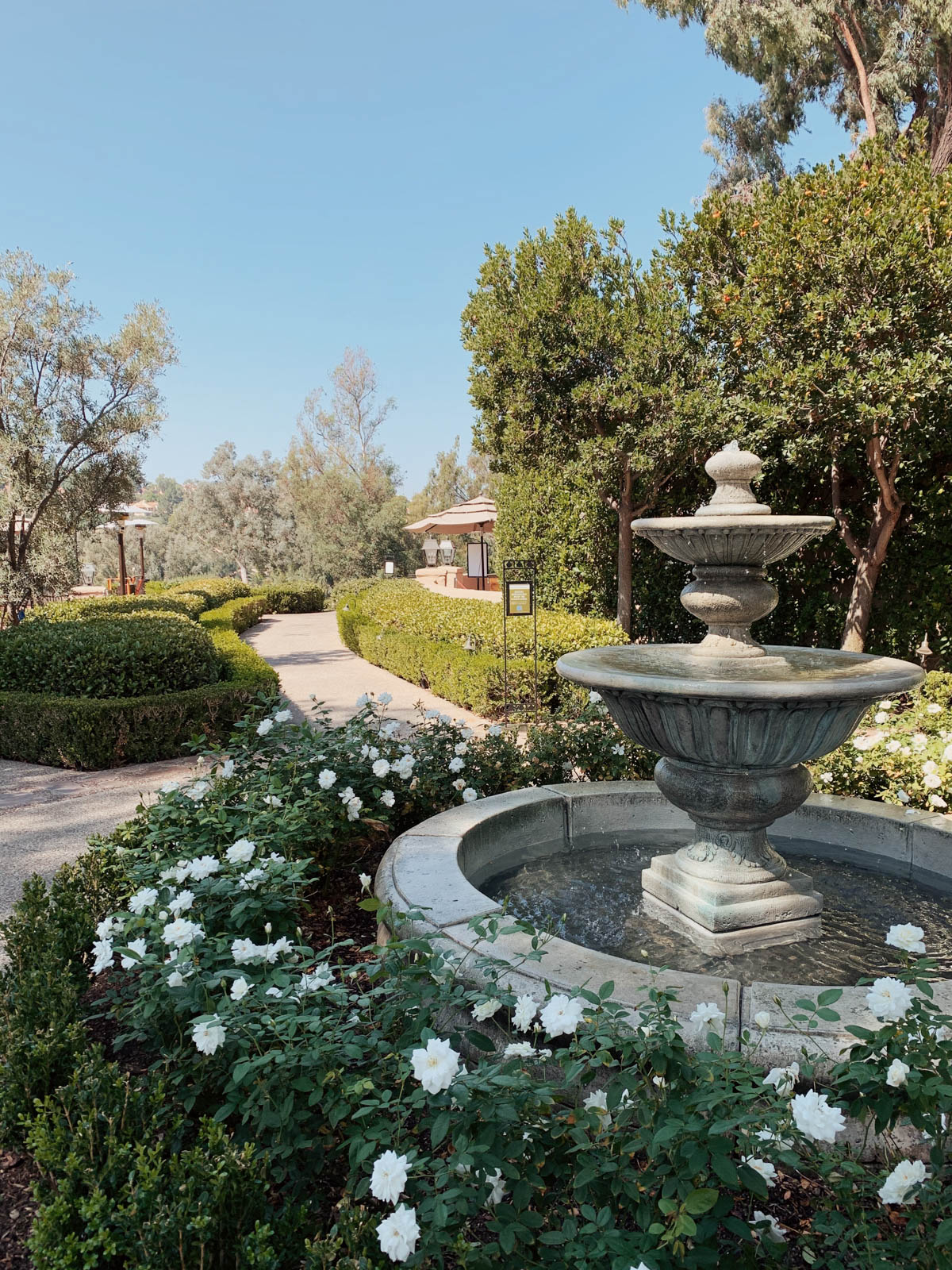 eatsleepwear goes on a family trip with toddler to Rancho Bernardo Inn fountain on property