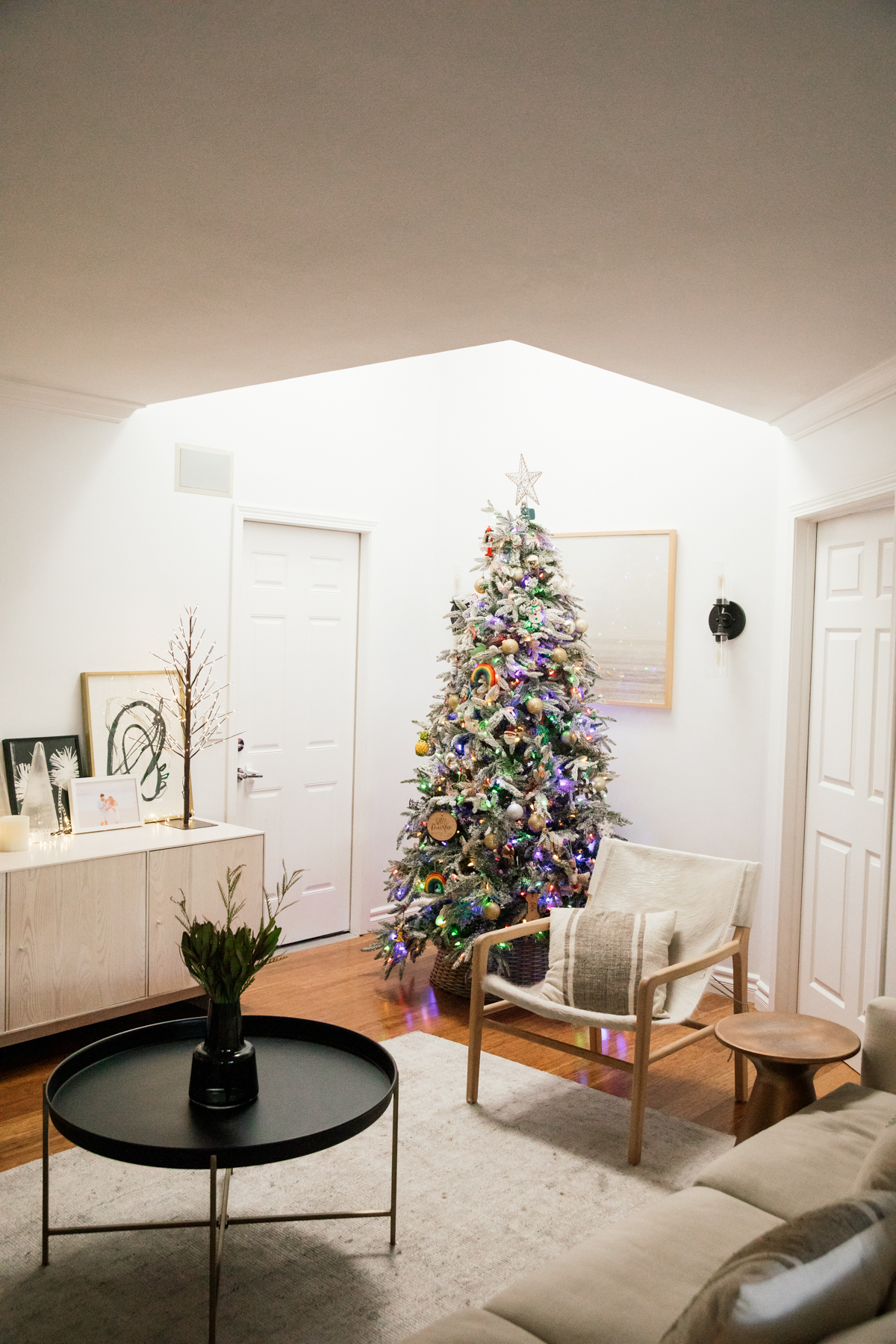 Indoor Holiday decor of lit Christmas Tree