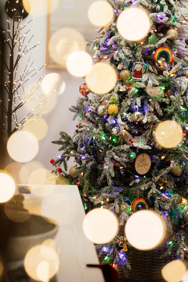 Indoor Holiday decor of twinkle lights tree and lit Christmas tree