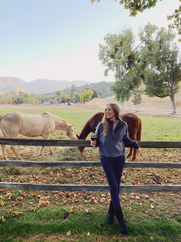 Happy hour in front of horses at Alisal Guest Ranch and Resort