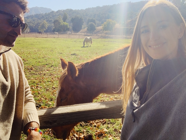 Petting horse at Alisal Guest Ranch and Resort