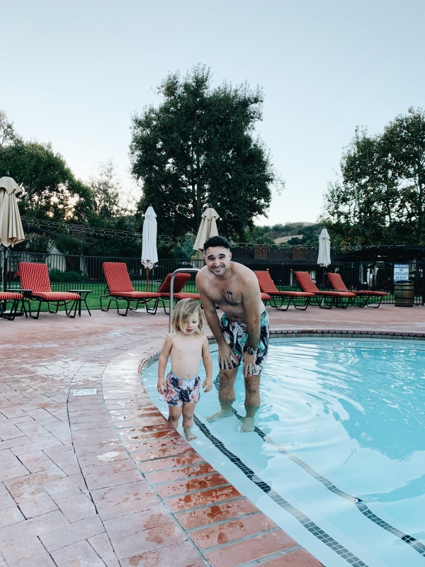 Father and son at pool at Alisal Guest Ranch and Resort