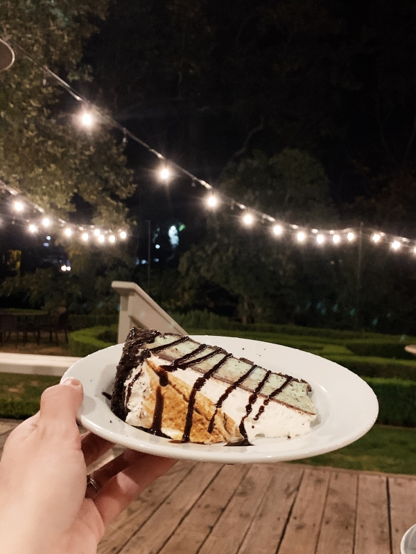 Dinner outside and dessert at Alisal Guest Ranch and Resort