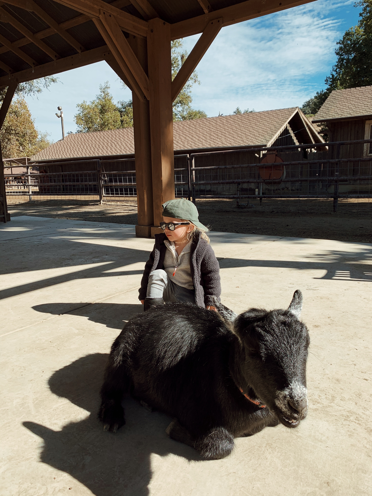 Toddler at kids Barnyard at Alisal Guest Ranch and Resort