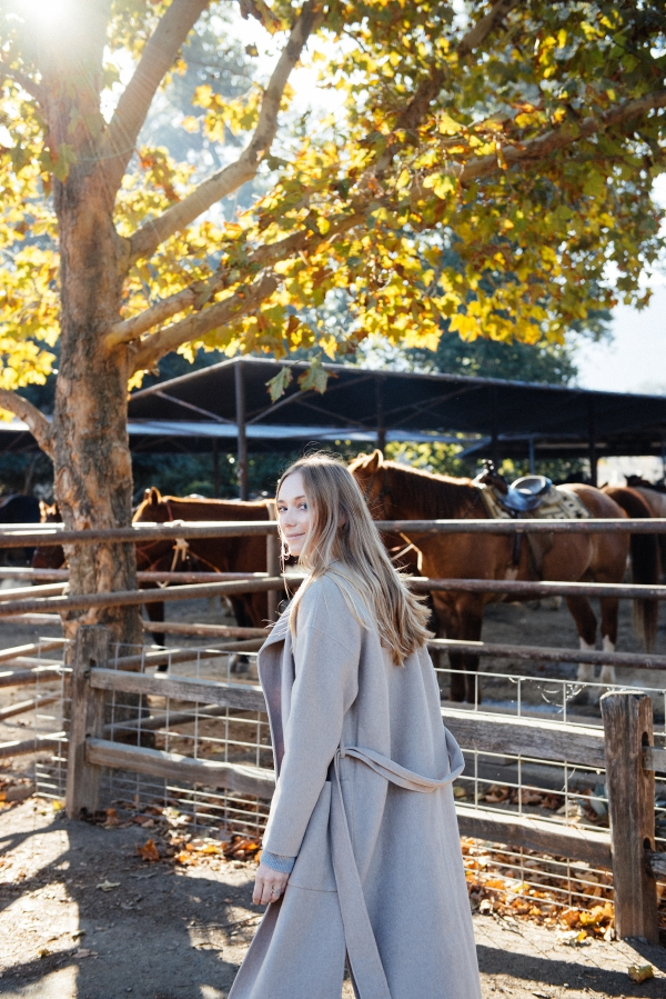 Walking by horse stables at Alisal Guest Ranch and Resort
